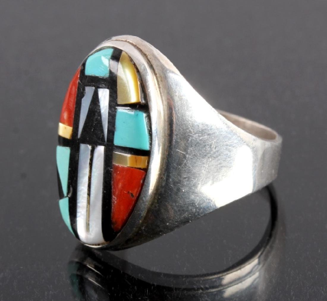 Signed Zuni Sterling Silver Inlaid Mosaic Ring