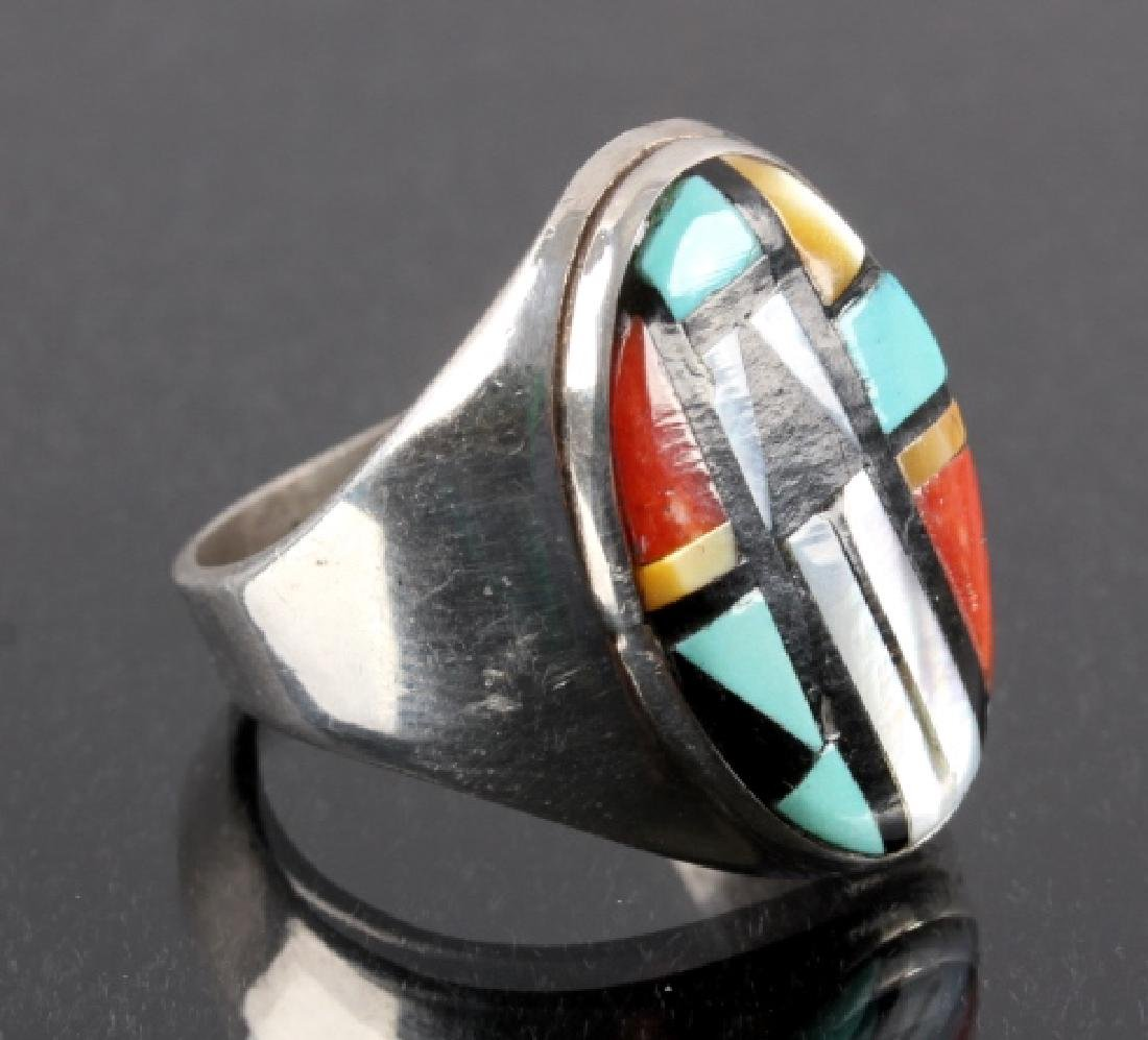 Signed Zuni Sterling Silver Inlaid Mosaic Ring - 2