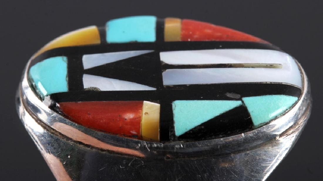 Signed Zuni Sterling Silver Inlaid Mosaic Ring - 4