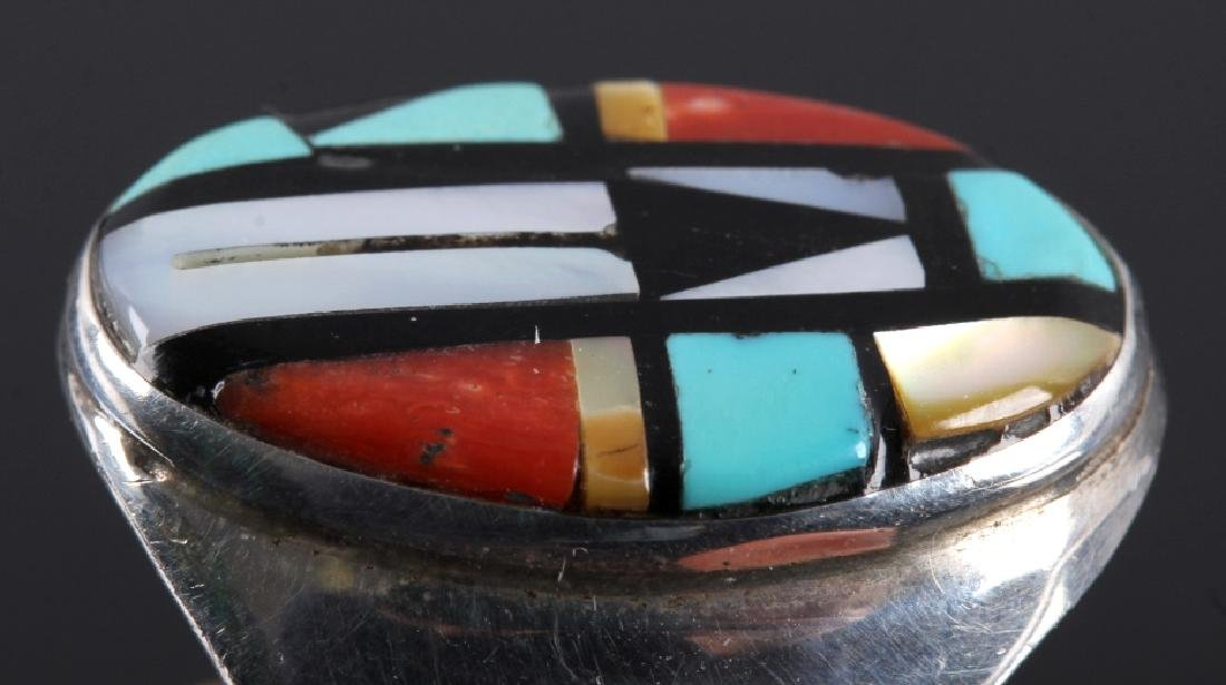 Signed Zuni Sterling Silver Inlaid Mosaic Ring - 5