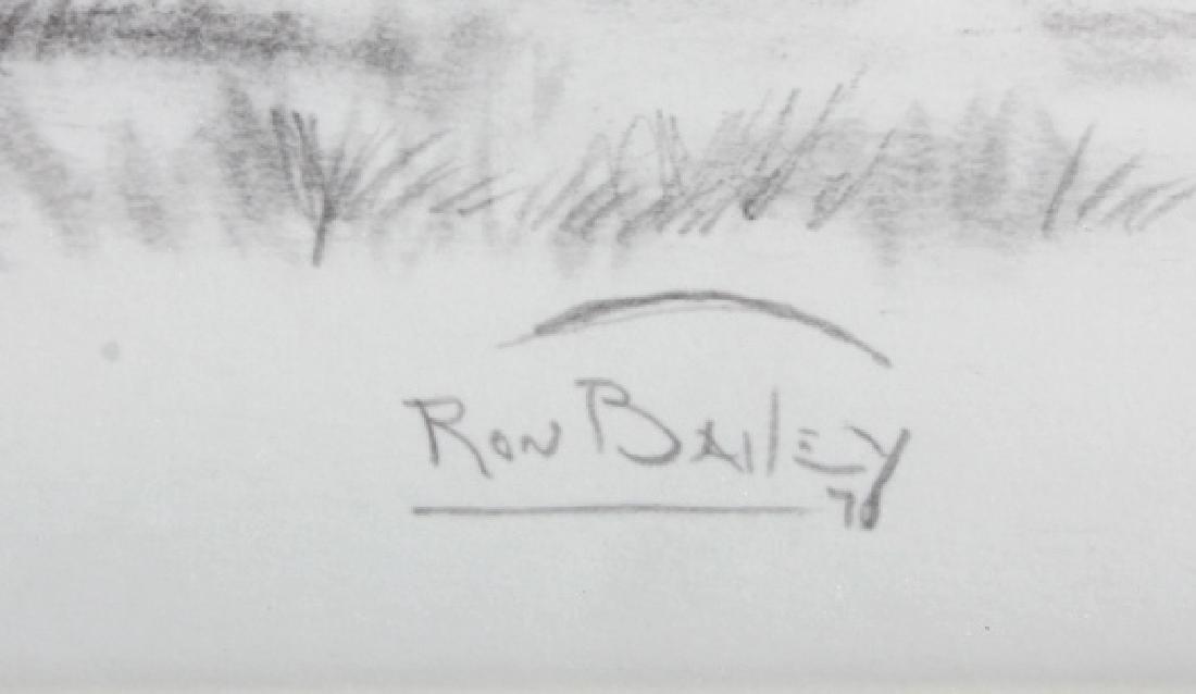 Original Ron Bailey Framed Buffalo Pencil Sketch - 5