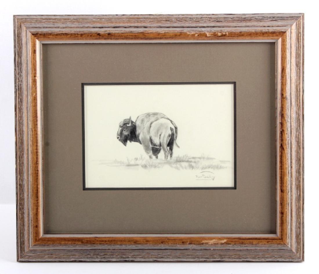 Original Ron Bailey Framed Buffalo Pencil Sketch - 7