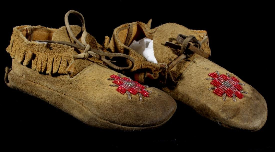 Sioux Native American Beaded Soft Sole Moccasins