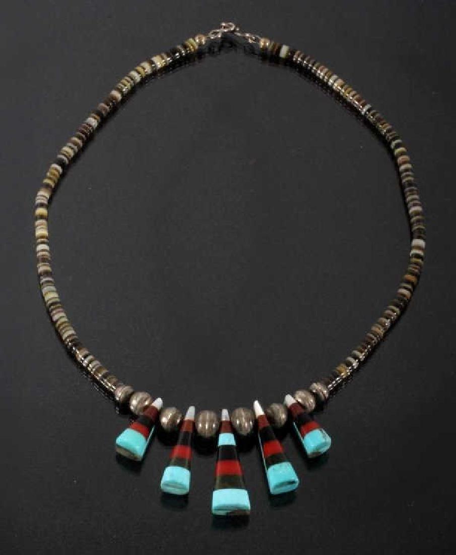 Navajo Mosaic Mutli-Stone & Heishe Bead Choker