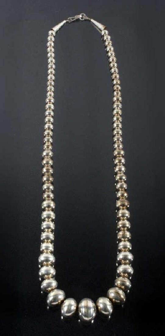 Navajo Sterling Silver Pearl Bead Necklace