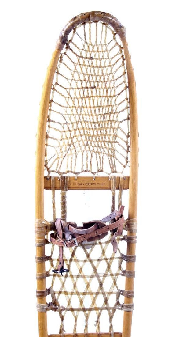 Antique Wooden Wallingford, VT Snowshoes - 4