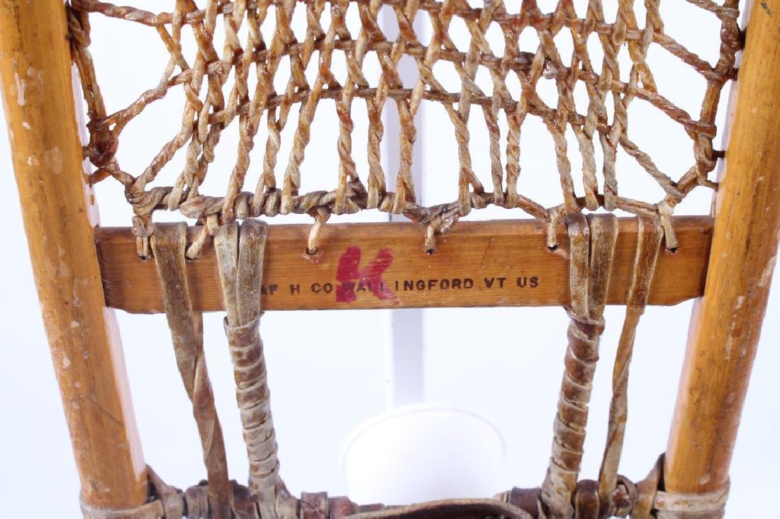 Antique Wooden Wallingford, VT Snowshoes - 5