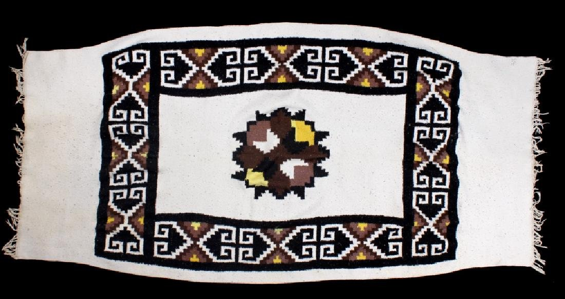Zapotec Native American Indian Hand-Spun Wool Rug - 7