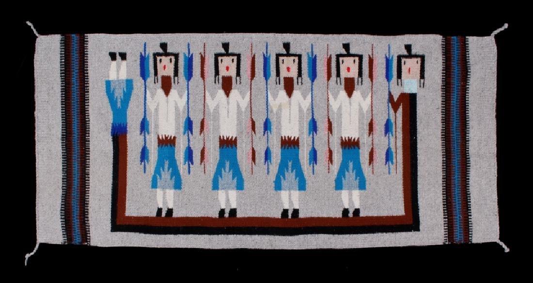 Navajo Rainbow Pictorial Yei Wool Rug