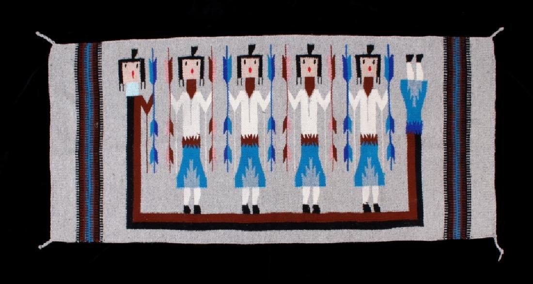 Navajo Rainbow Pictorial Yei Wool Rug - 2