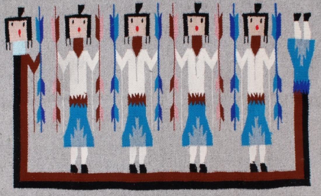 Navajo Rainbow Pictorial Yei Wool Rug - 3