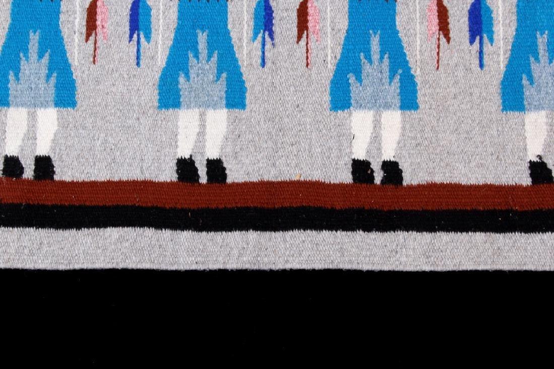 Navajo Rainbow Pictorial Yei Wool Rug - 6