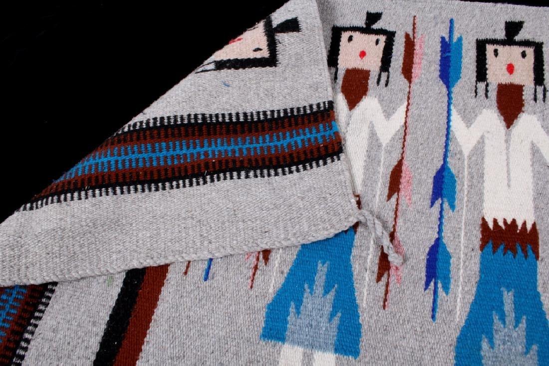 Navajo Rainbow Pictorial Yei Wool Rug - 7