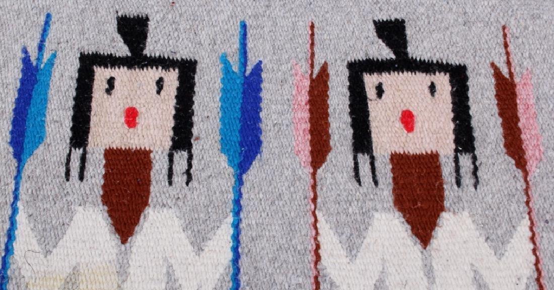 Navajo Rainbow Pictorial Yei Wool Rug - 9