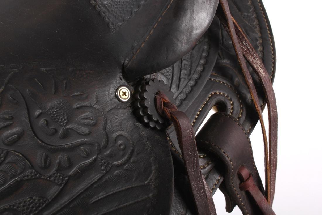 Custom Floral Tooled Western Style Saddle - 10