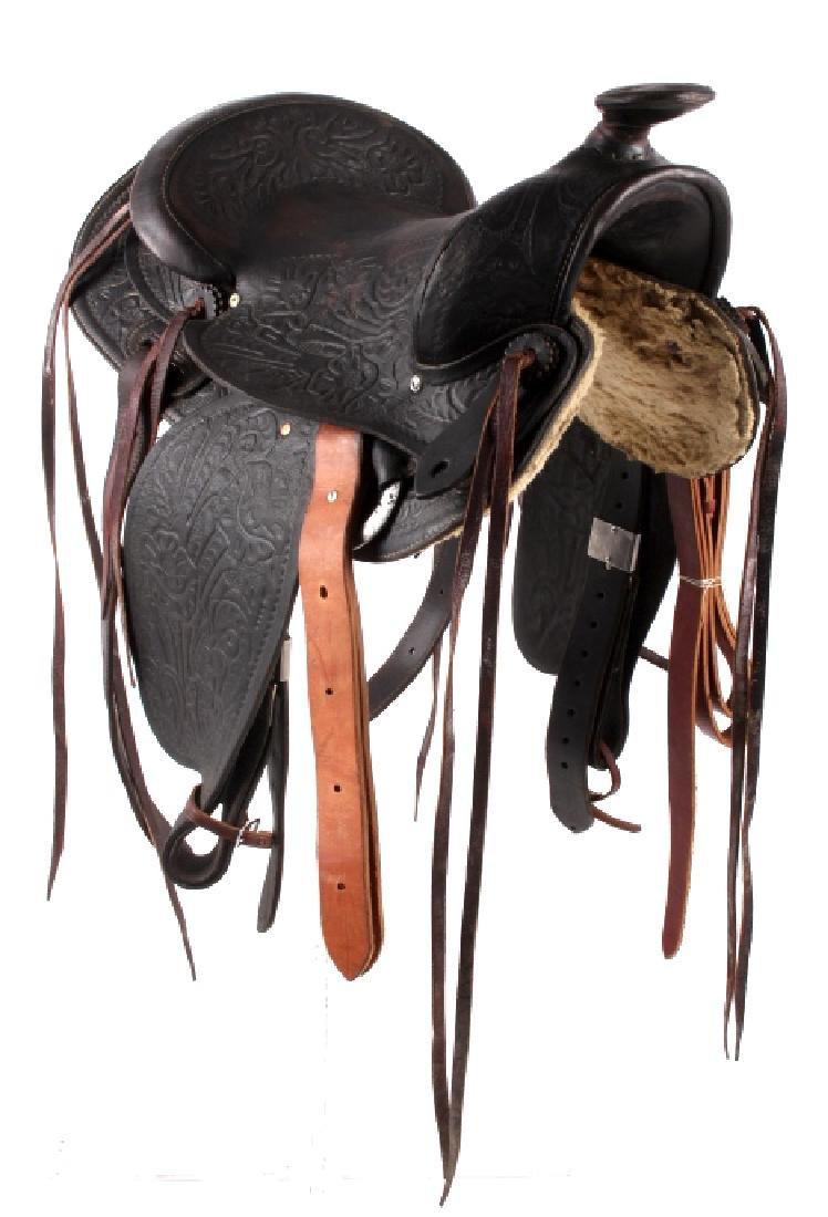 Custom Floral Tooled Western Style Saddle - 2