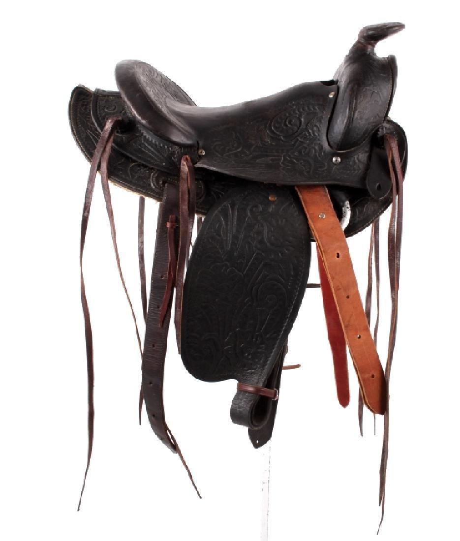 Custom Floral Tooled Western Style Saddle - 4