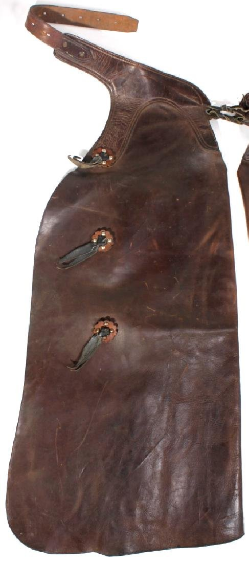 George Lawrence Western Leather Cowboy Chaps - 3