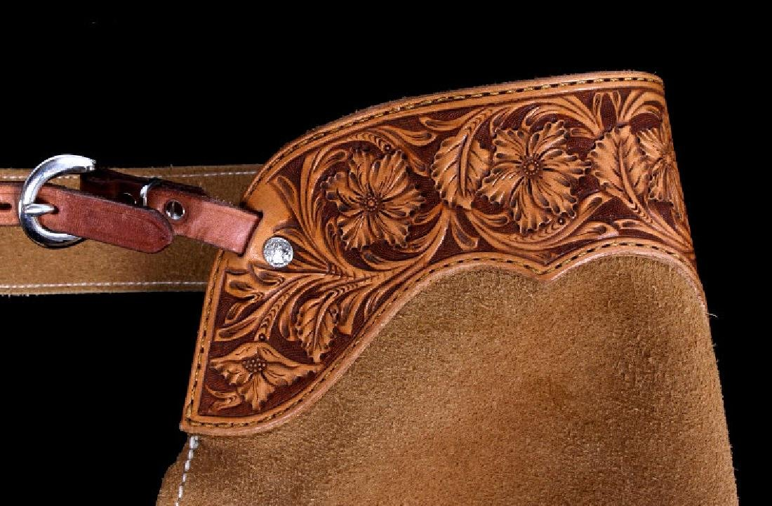 Montana Tooled Leather Shotgun Chaps - 2