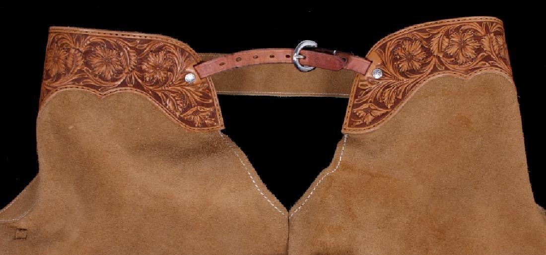Montana Tooled Leather Shotgun Chaps - 5