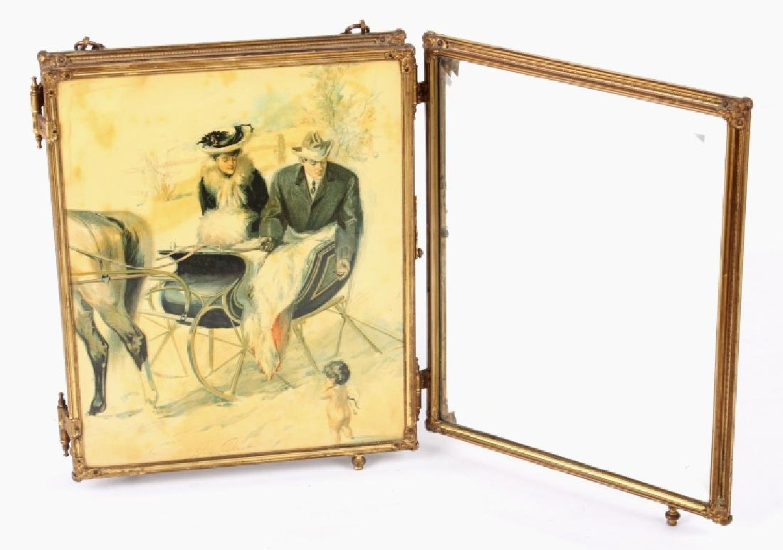 Antique Triptych Travel Mirror circa 1903