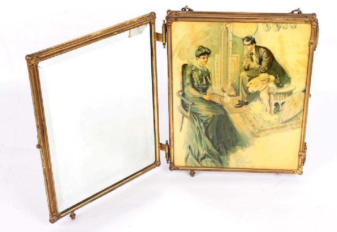Antique Triptych Travel Mirror circa 1903 - 4