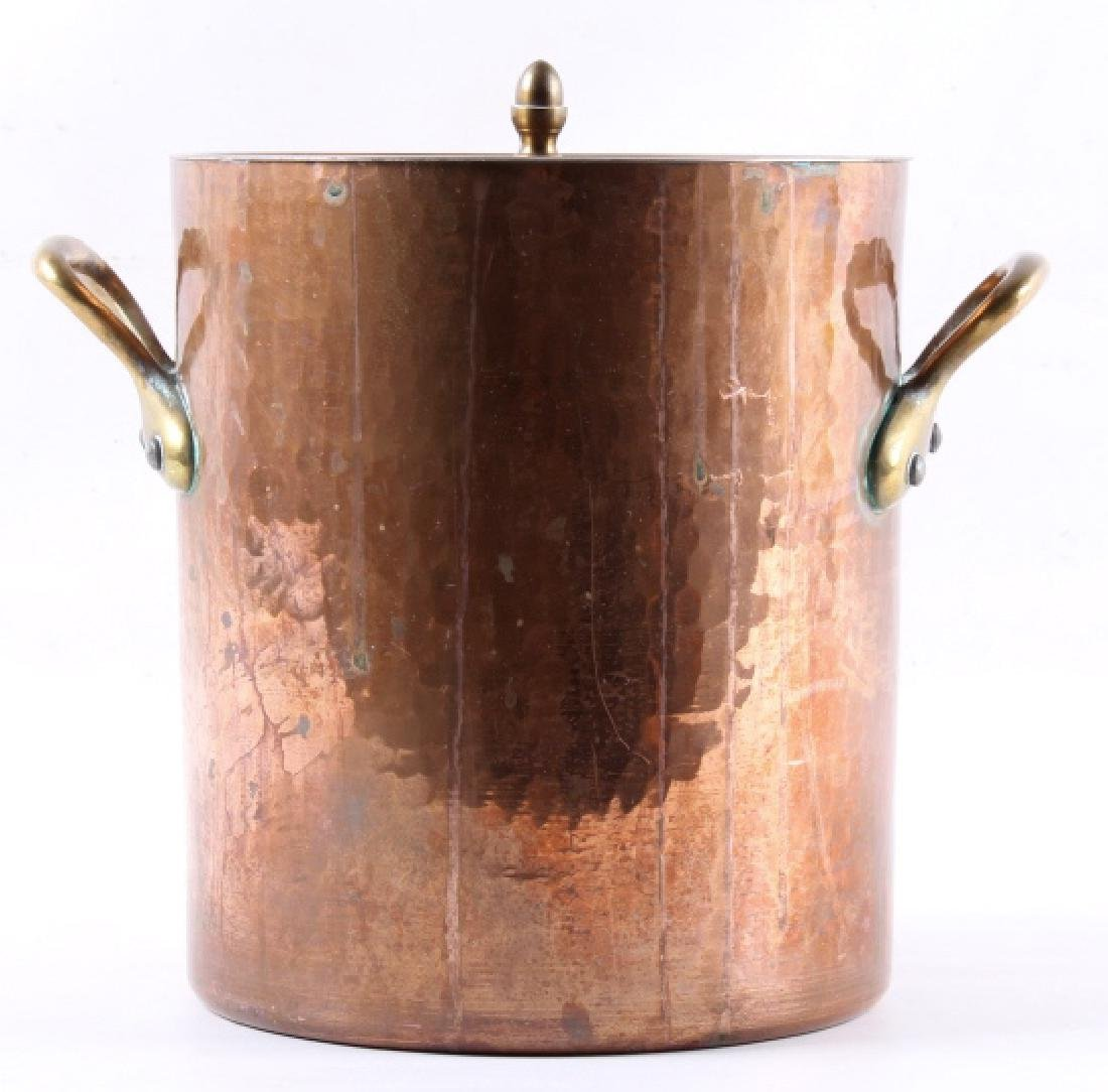 Hand Hammered French Copper/ Brass Stock Pot - 11