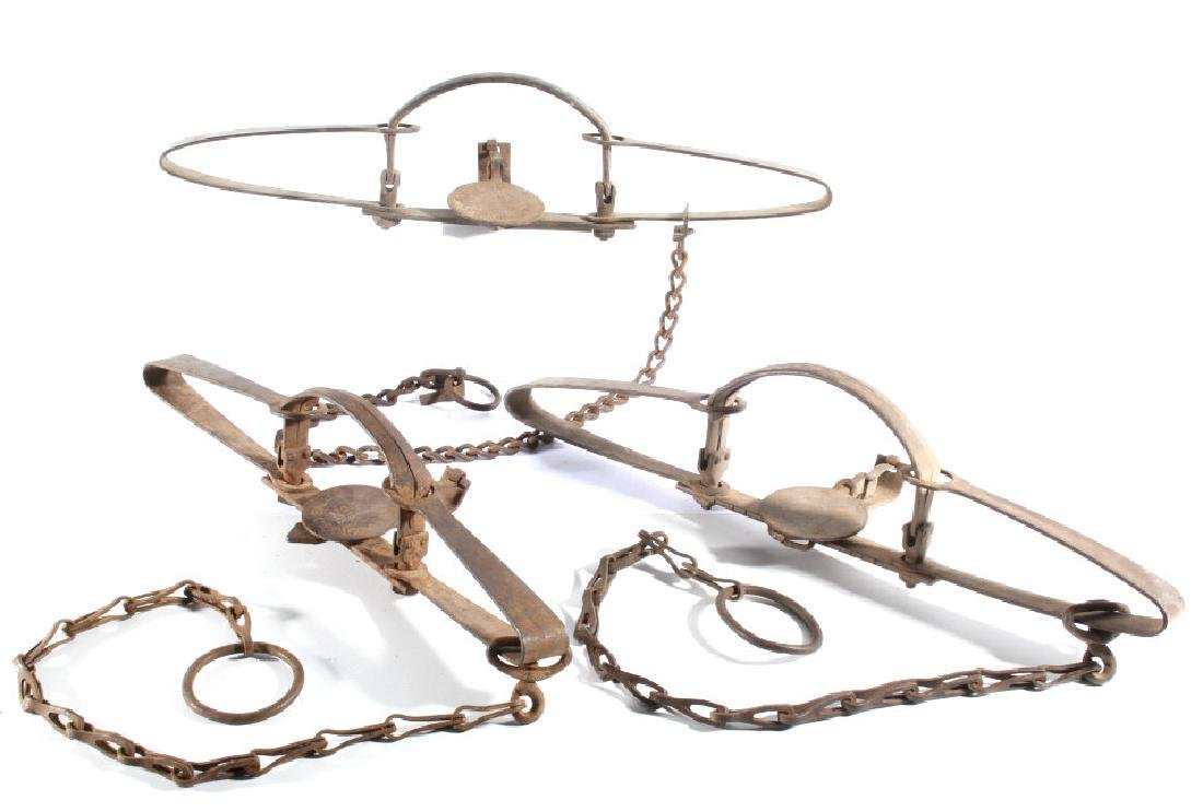 3 Antique Oneida Community S. Newhouse Traps