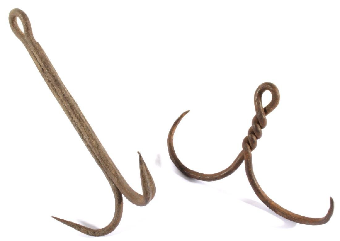 Pair of Antique Wrought Iron Animal Trap Drags