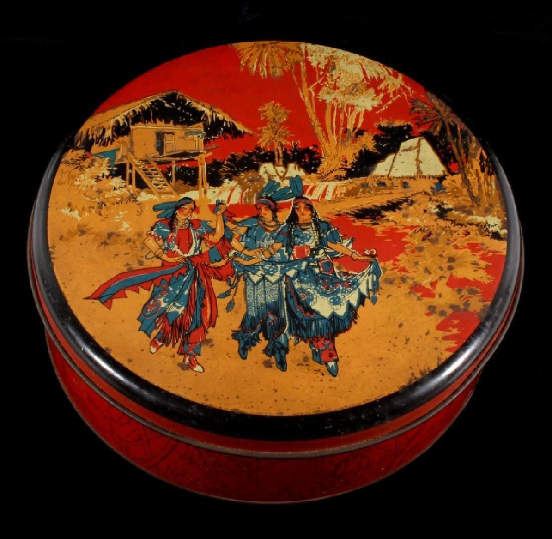 Art Deco Seminole Native American Tin Canister