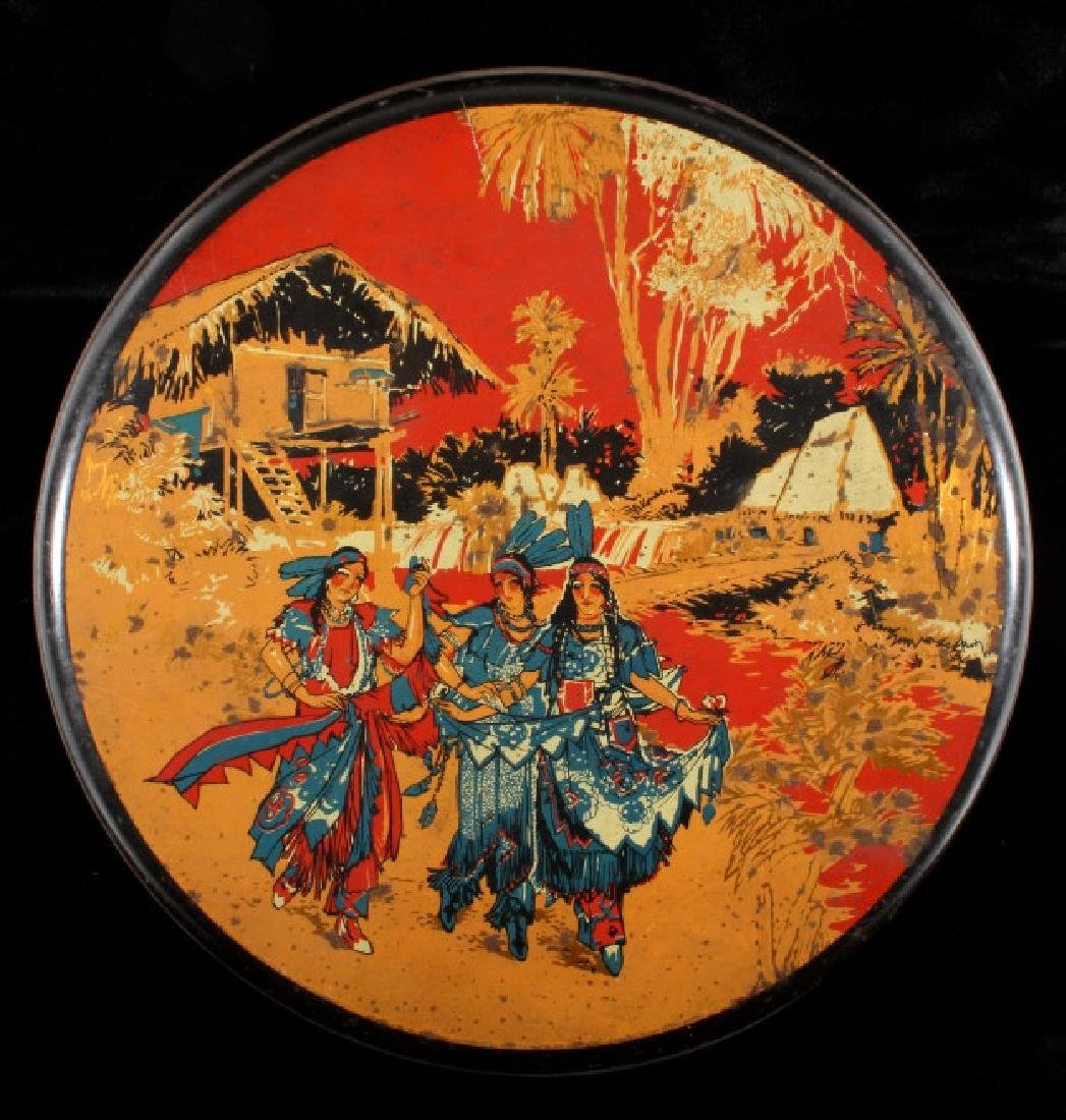 Art Deco Seminole Native American Tin Canister - 2