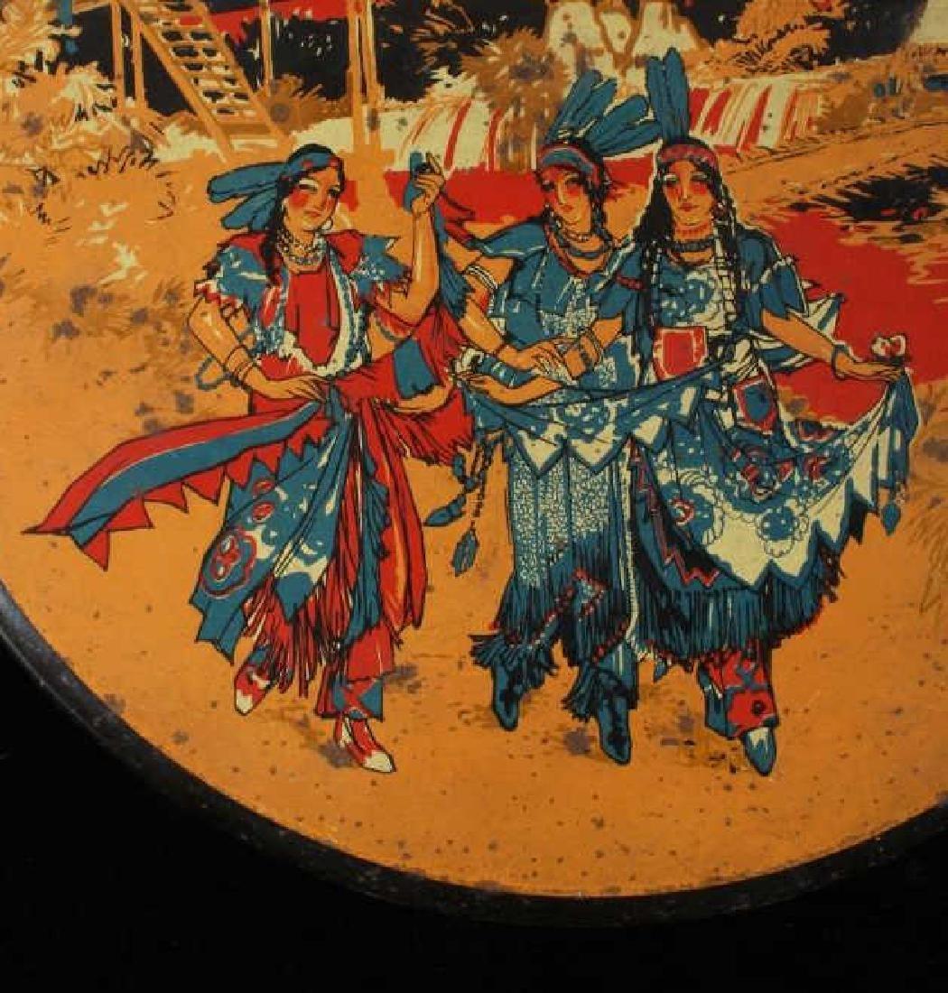 Art Deco Seminole Native American Tin Canister - 4