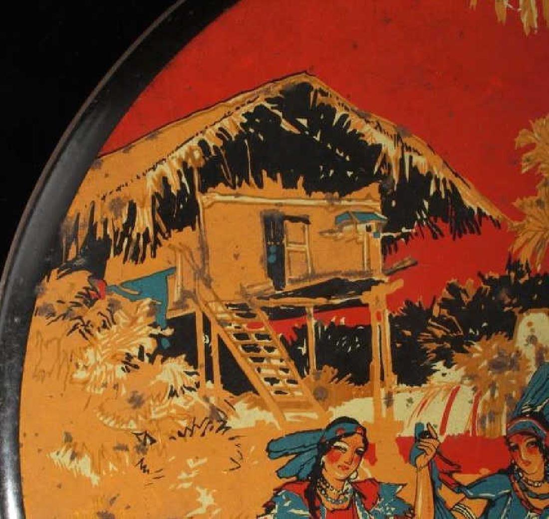Art Deco Seminole Native American Tin Canister - 5