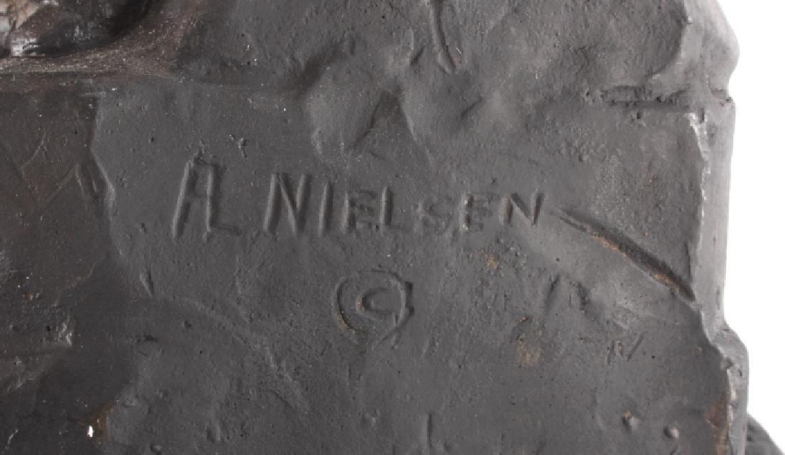 Signed Nielsen Chalkware Bear Family Sculpture - 10