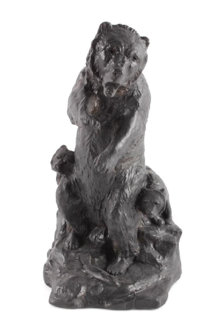 Signed Nielsen Chalkware Bear Family Sculpture