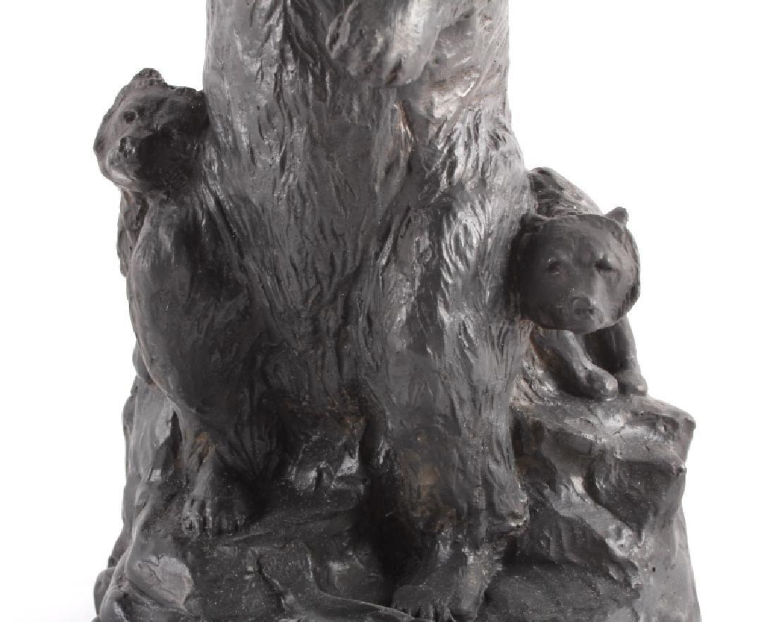 Signed Nielsen Chalkware Bear Family Sculpture - 3