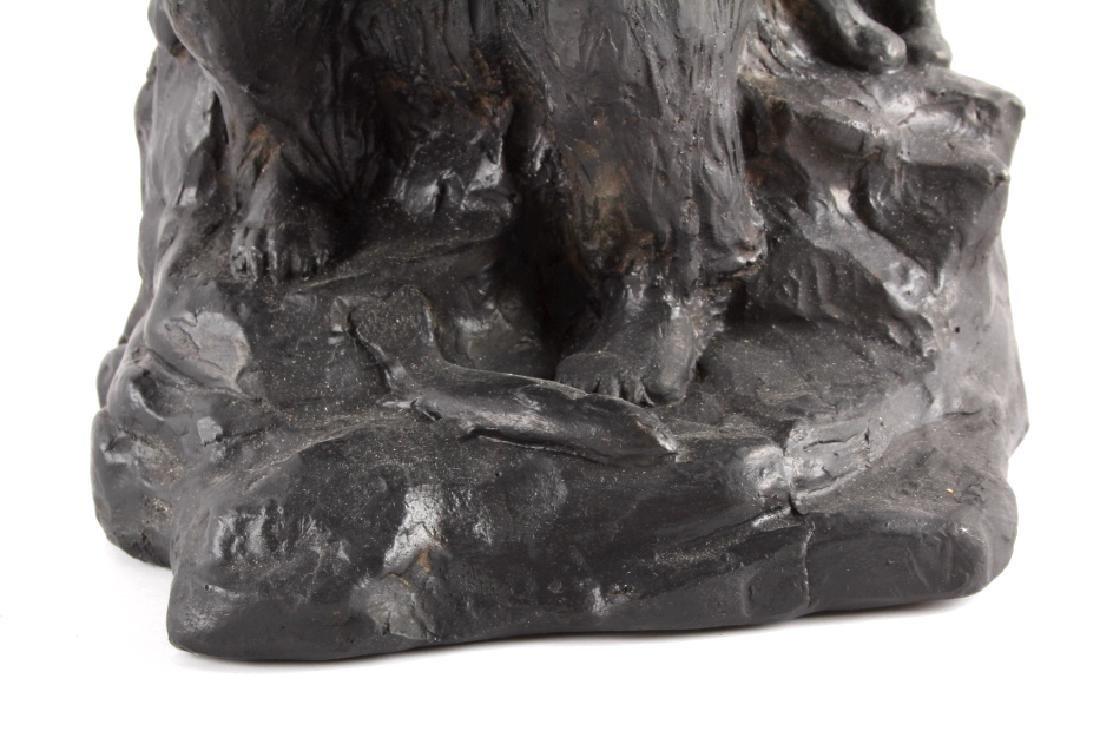 Signed Nielsen Chalkware Bear Family Sculpture - 4