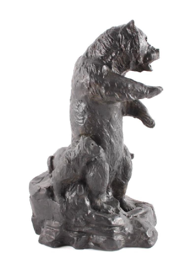 Signed Nielsen Chalkware Bear Family Sculpture - 6