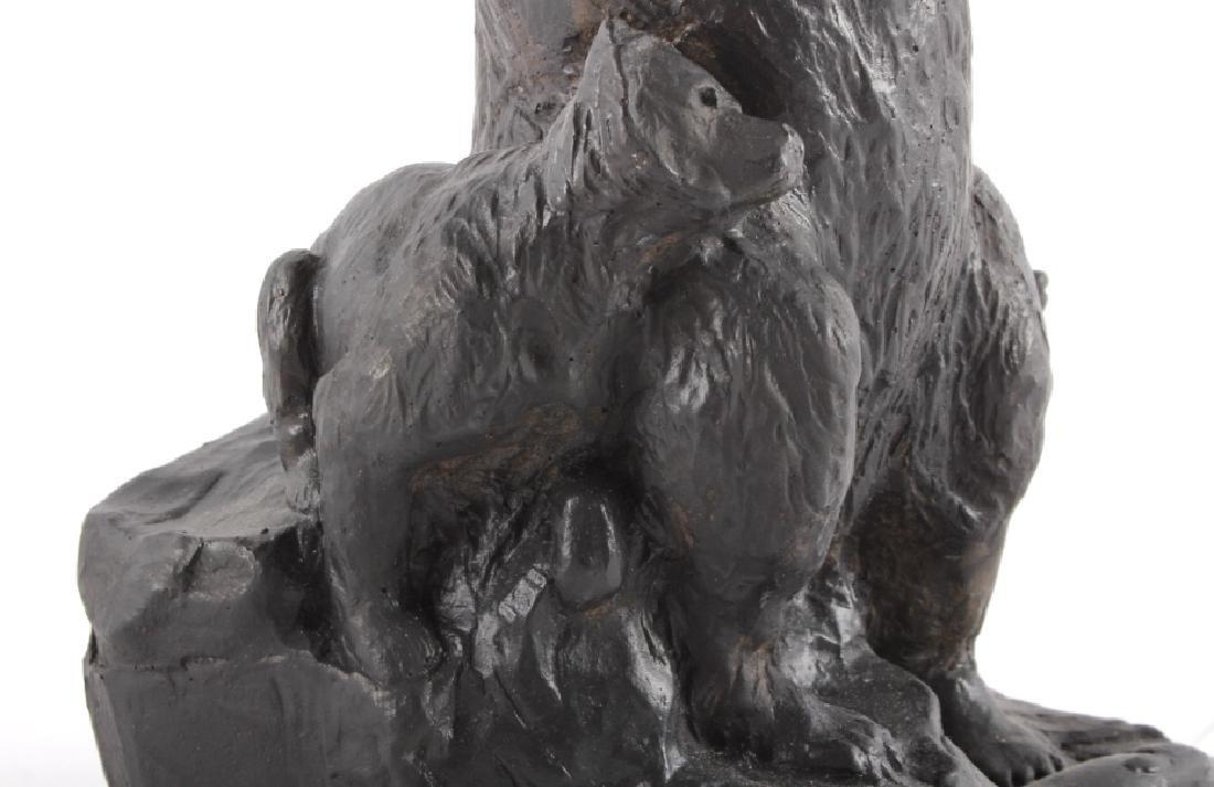 Signed Nielsen Chalkware Bear Family Sculpture - 8