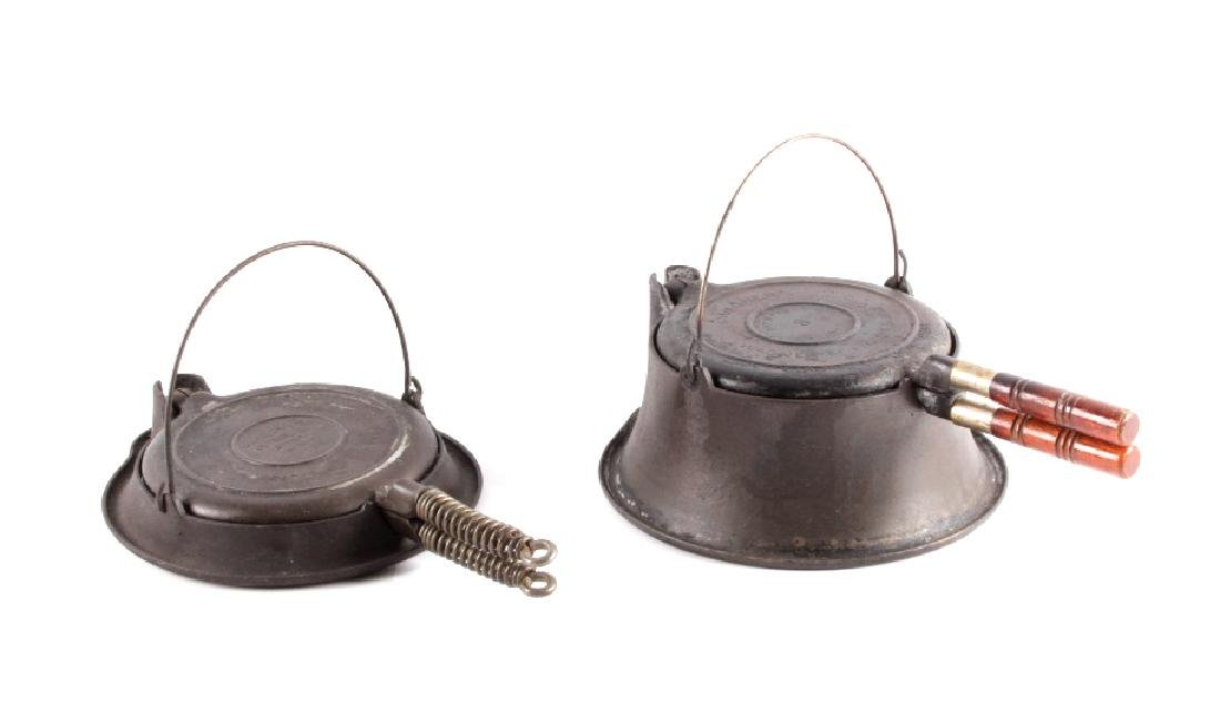 Antique set of Wagner Waffle Makers w/ Bases