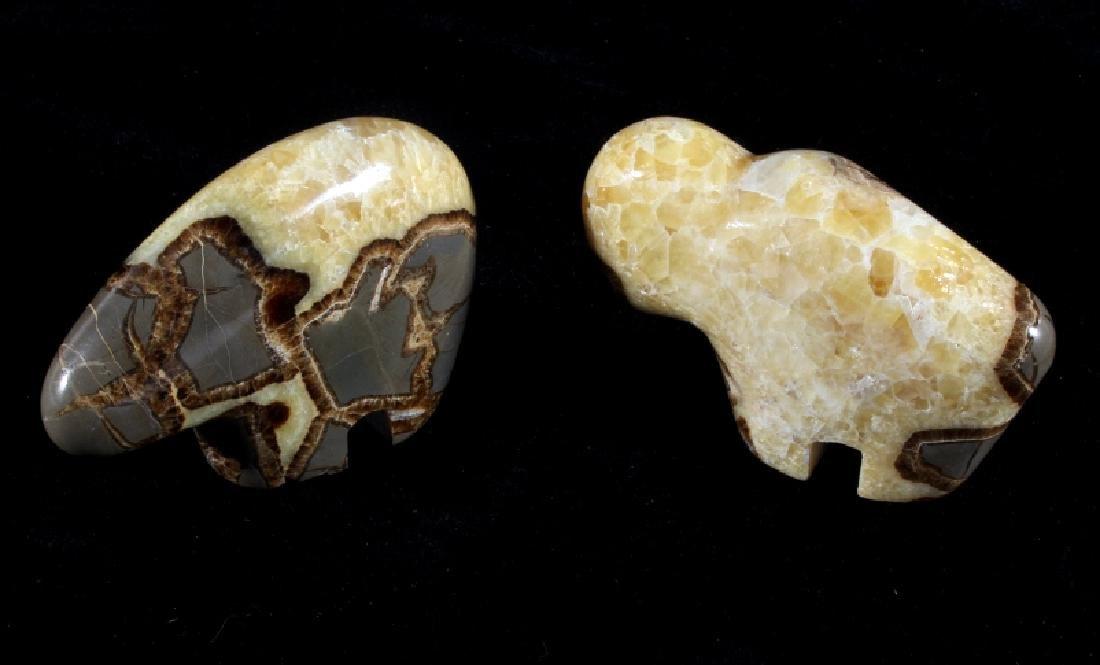 Bear & Buffalo Septarian Nodule Carvings