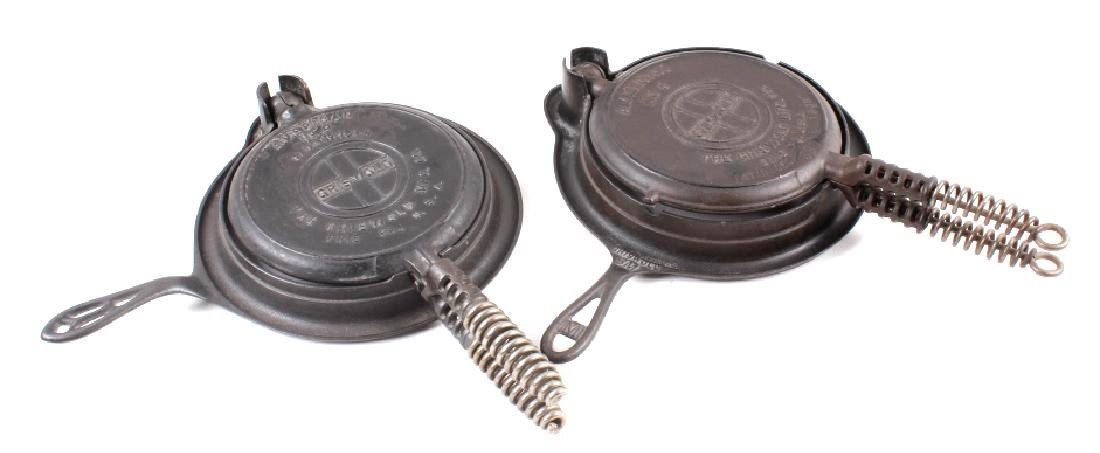 Pair of Griswold No. 8 Waffle Irons with Bases