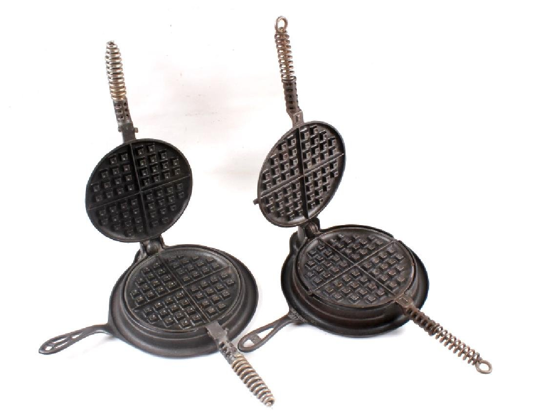 Pair of Griswold No. 8 Waffle Irons with Bases - 2