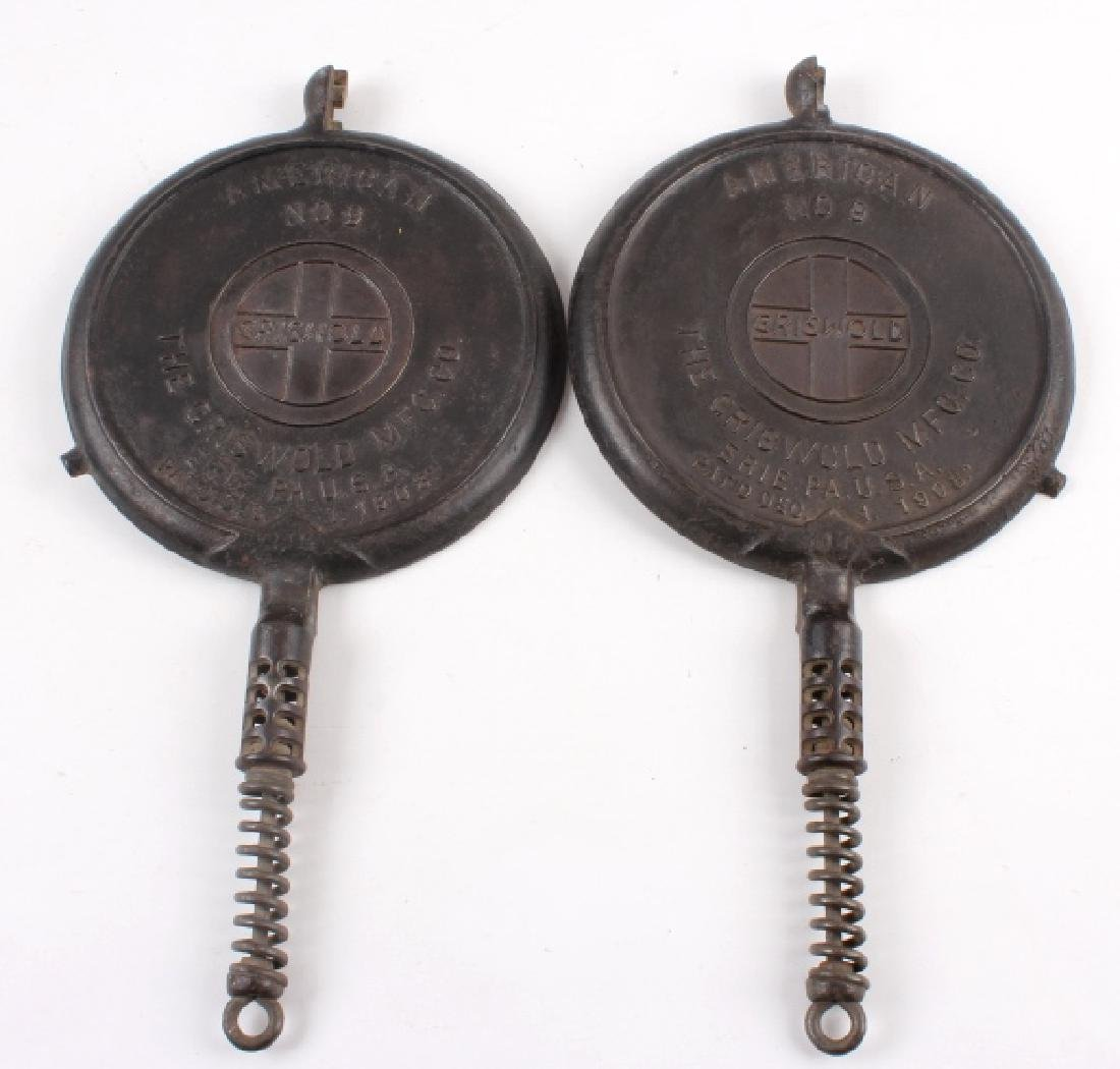 Griswold No 8./No 9. Waffle Makers with Bases - 5