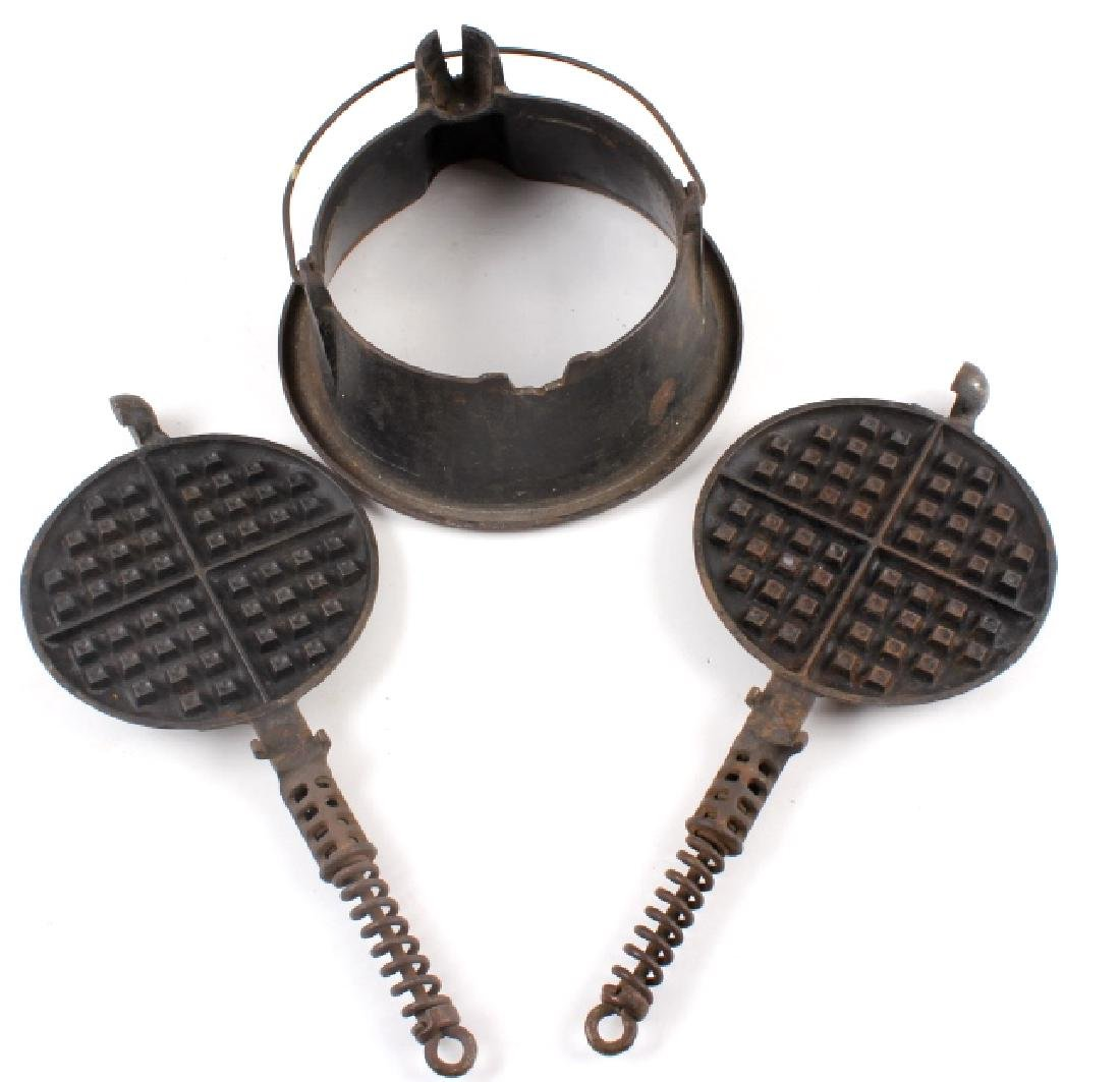 Griswold No 9. & No 7. Waffle Makers with Bases - 10