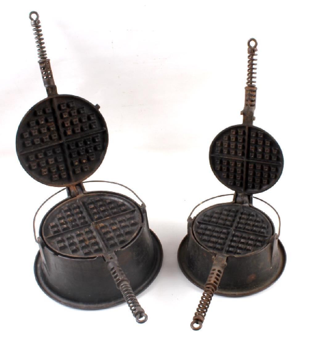 Griswold No 9. & No 7. Waffle Makers with Bases - 2