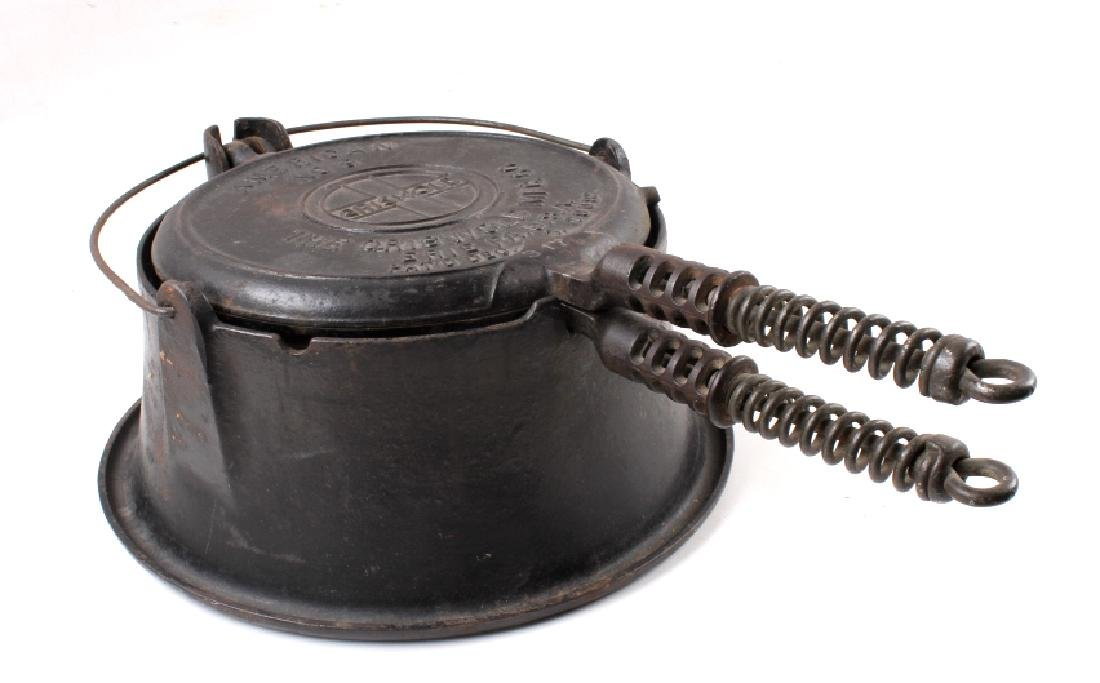 Griswold No 9. & No 7. Waffle Makers with Bases - 3