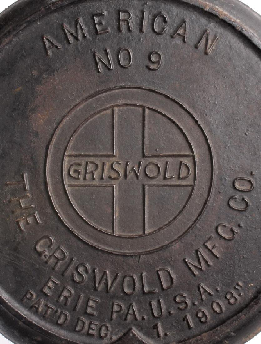 Griswold No 9. & No 7. Waffle Makers with Bases - 4