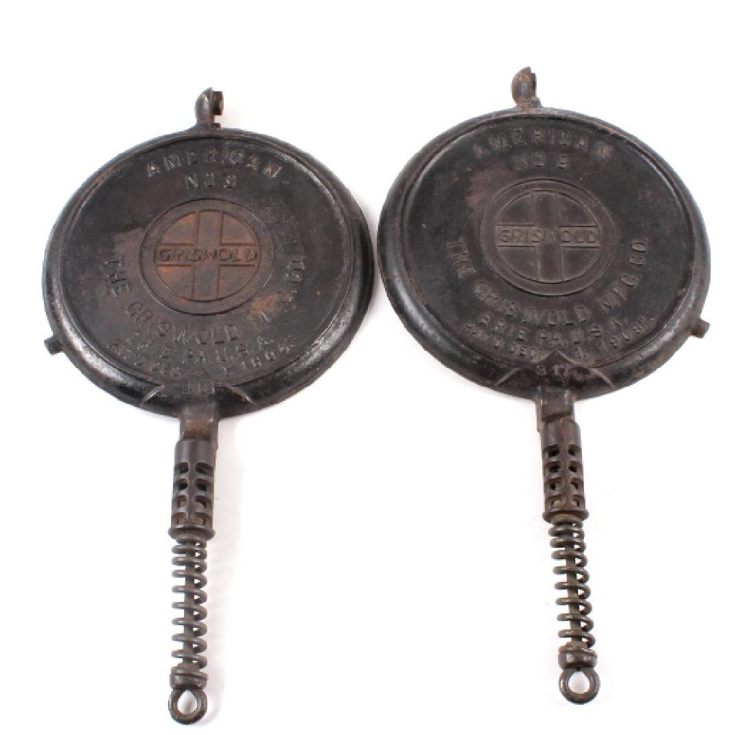 Griswold No 9. & No 7. Waffle Makers with Bases - 7