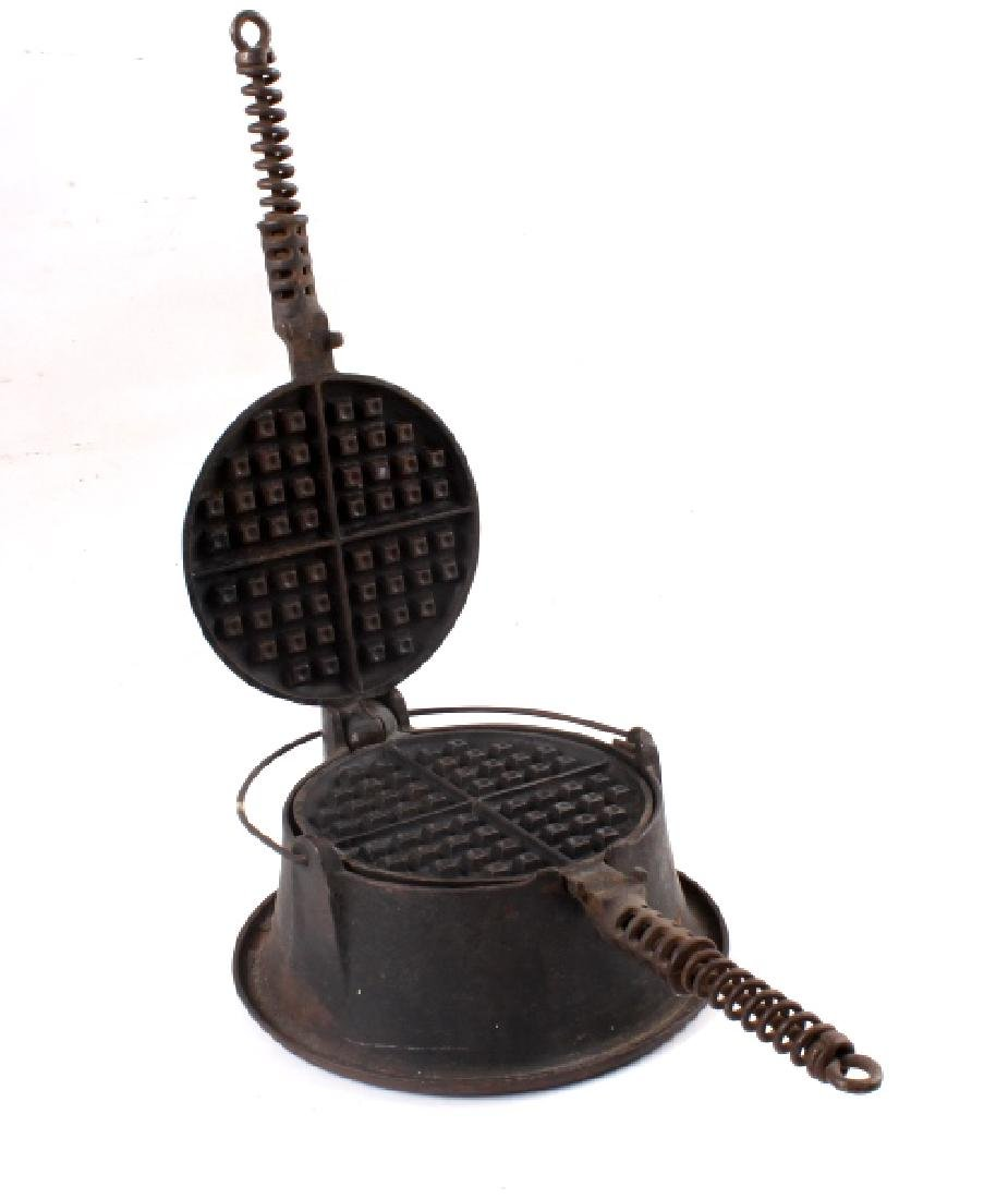Griswold No 9. & No 7. Waffle Makers with Bases - 8